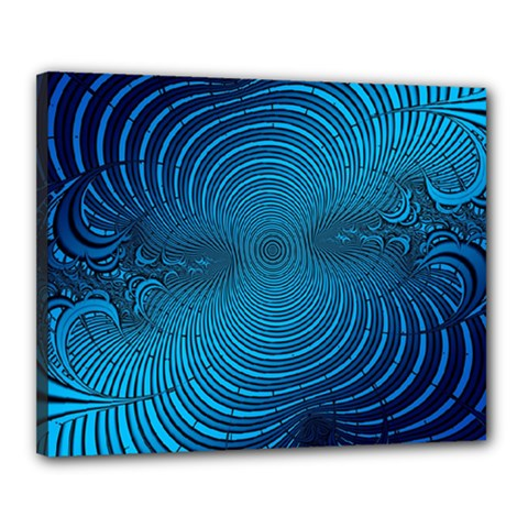 Abstract Fractal Blue Background Canvas 20  X 16