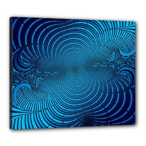 Abstract Fractal Blue Background Canvas 24  X 20