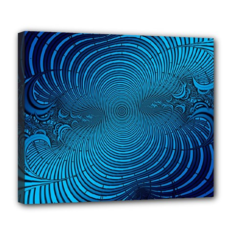 Abstract Fractal Blue Background Deluxe Canvas 24  x 20