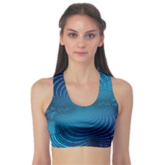 Abstract Fractal Blue Background Sports Bra