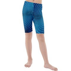 Abstract Fractal Blue Background Kids  Mid Length Swim Shorts