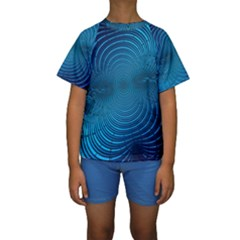 Abstract Fractal Blue Background Kids  Short Sleeve Swimwear