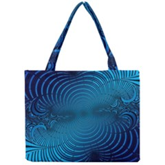 Abstract Fractal Blue Background Mini Tote Bag