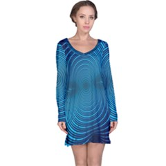 Abstract Fractal Blue Background Long Sleeve Nightdress