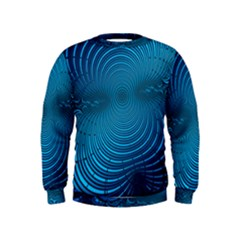 Abstract Fractal Blue Background Kids  Sweatshirt