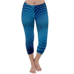 Abstract Fractal Blue Background Capri Winter Leggings