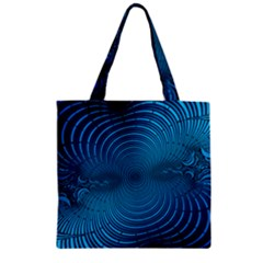 Abstract Fractal Blue Background Zipper Grocery Tote Bag