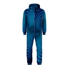 Abstract Fractal Blue Background Hooded Jumpsuit (Kids)