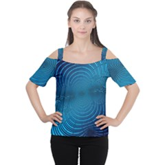 Abstract Fractal Blue Background Women s Cutout Shoulder Tee