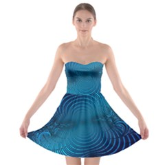 Abstract Fractal Blue Background Strapless Bra Top Dress