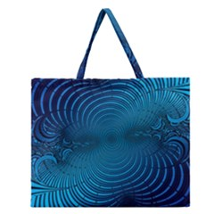 Abstract Fractal Blue Background Zipper Large Tote Bag