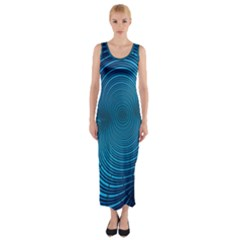 Abstract Fractal Blue Background Fitted Maxi Dress
