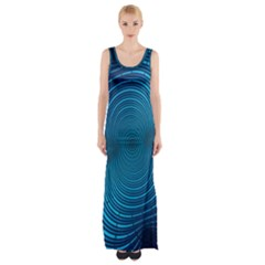 Abstract Fractal Blue Background Maxi Thigh Split Dress