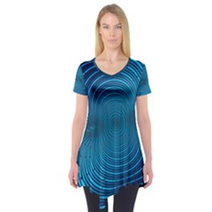Abstract Fractal Blue Background Short Sleeve Tunic