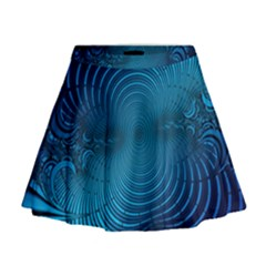 Abstract Fractal Blue Background Mini Flare Skirt