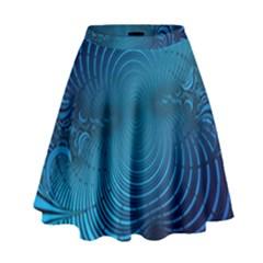 Abstract Fractal Blue Background High Waist Skirt