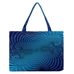 Abstract Fractal Blue Background Medium Zipper Tote Bag