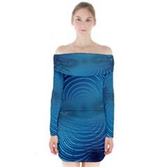 Abstract Fractal Blue Background Long Sleeve Off Shoulder Dress