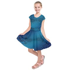 Abstract Fractal Blue Background Kids  Short Sleeve Dress