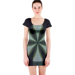Lines Abstract Background Short Sleeve Bodycon Dress