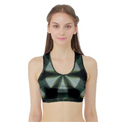 Lines Abstract Background Sports Bra With Border