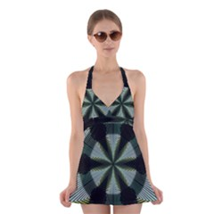 Lines Abstract Background Halter Swimsuit Dress