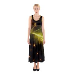 Particles Vibration Line Wave Sleeveless Maxi Dress