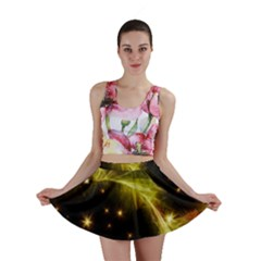 Particles Vibration Line Wave Mini Skirt