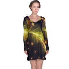 Particles Vibration Line Wave Long Sleeve Nightdress