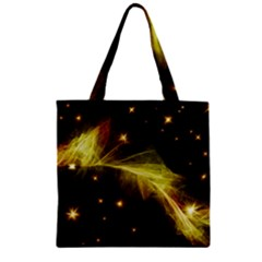 Particles Vibration Line Wave Zipper Grocery Tote Bag