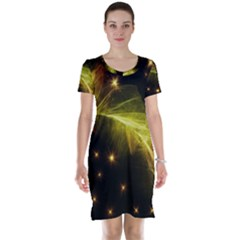 Particles Vibration Line Wave Short Sleeve Nightdress