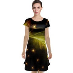 Particles Vibration Line Wave Cap Sleeve Nightdress