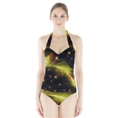 Particles Vibration Line Wave Halter Swimsuit
