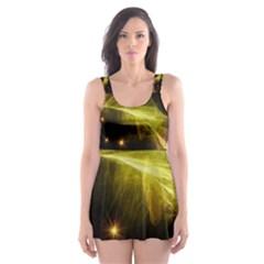Particles Vibration Line Wave Skater Dress Swimsuit
