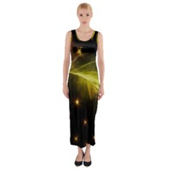 Particles Vibration Line Wave Fitted Maxi Dress