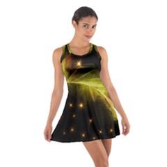Particles Vibration Line Wave Cotton Racerback Dress
