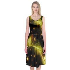Particles Vibration Line Wave Midi Sleeveless Dress