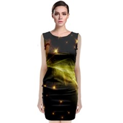 Particles Vibration Line Wave Classic Sleeveless Midi Dress