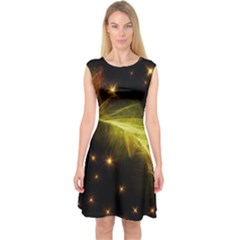 Particles Vibration Line Wave Capsleeve Midi Dress