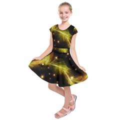Particles Vibration Line Wave Kids  Short Sleeve Dress
