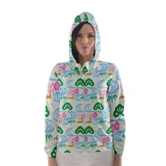 Flower Arrangements Season Sunflower Green Blue Pink Red Waves Hooded Wind Breaker (Women)
