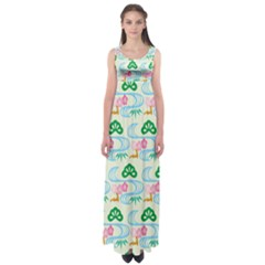Flower Arrangements Season Sunflower Green Blue Pink Red Waves Empire Waist Maxi Dress
