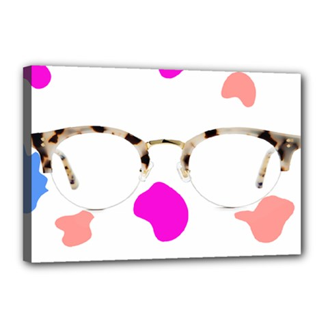 Glasses Blue Pink Brown Canvas 18  x 12