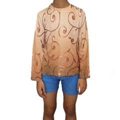 Texture Material Textile Gold Kids  Long Sleeve Swimwear