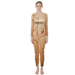 Texture Material Textile Gold Long Sleeve Catsuit