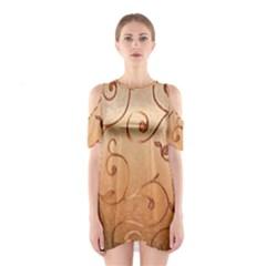 Texture Material Textile Gold Shoulder Cutout One Piece