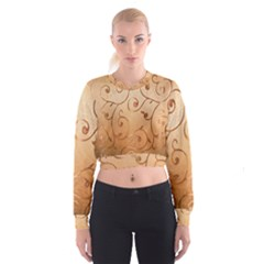 Texture Material Textile Gold Women s Cropped Sweatshirt
