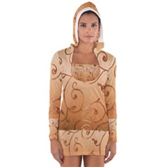 Texture Material Textile Gold Women s Long Sleeve Hooded T-shirt