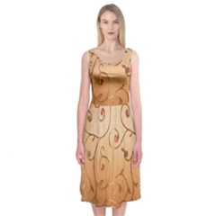 Texture Material Textile Gold Midi Sleeveless Dress