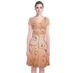 Texture Material Textile Gold Short Sleeve Front Wrap Dress